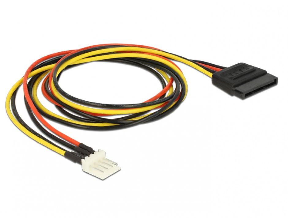 Imagine Cablu de alimentare SATA 15 pini la Floppy 4 pini 24cm M-T, Delock 83877 -1