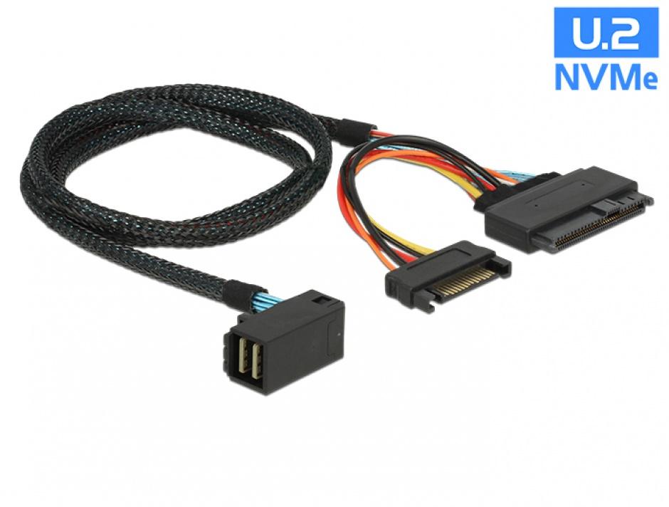 Imagine Cablu SFF-8643 unghi la U.2 SFF-8639 + alimentare SATA 75cm, Delock 84822