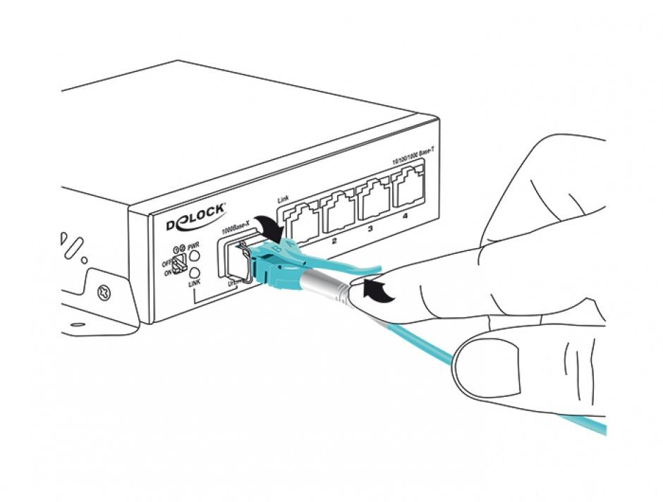 Imagine Cablu fibra optica LC - LC Multimode OM3 Uniboot 2m, Delock 85128