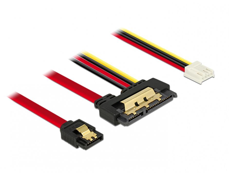 Imagine Cablu de date + alimentare SATA 22 pini 6 Gb/s cu clips la Floppy 4 pini mama + SATA 7 pini 30cm, Delock 85234