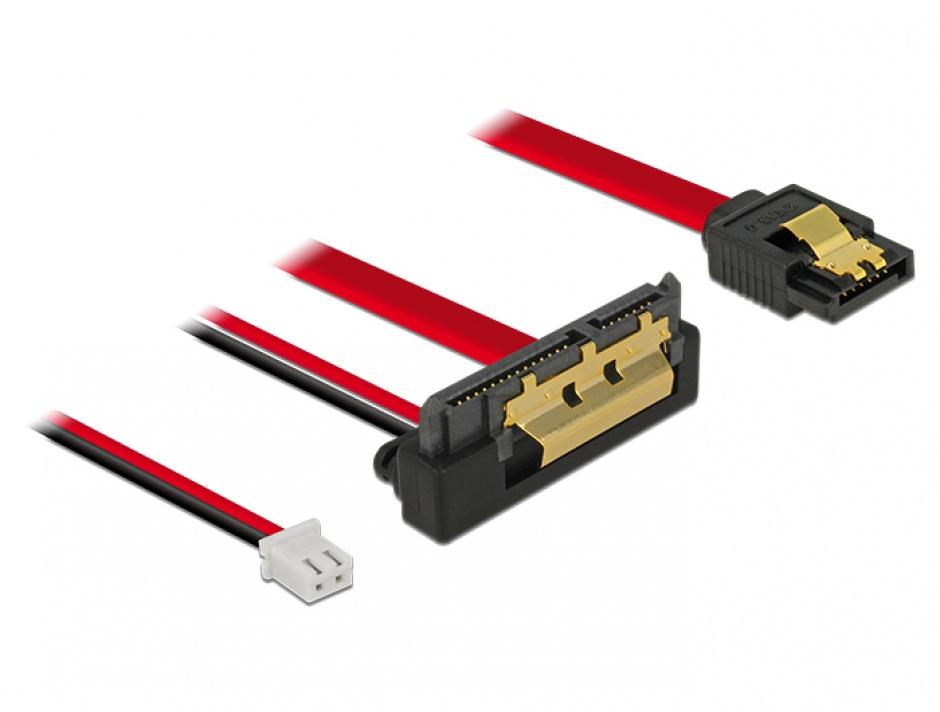 Imagine Cablu de date + alimentare SATA 22 pini 5V 6 Gb/s cu clips la Alimentare 2 pini + SATA 7 pini unghi jos/drept 20cm, Delock 85241