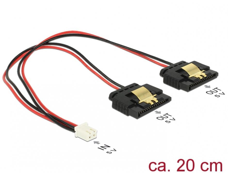 Imagine Cablu de alimentare 2 pini (Banana Pi) la 2 x SATA 15 pini 5V cu clips M-M 20cm, Delock 85249 -1