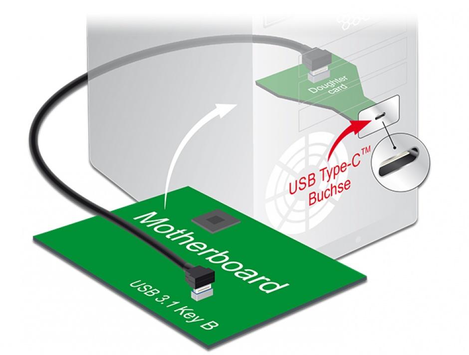Imagine Cablu USB 3.1 Gen 2 key B 20 pini T-T 45cm Negru, Delock 85328