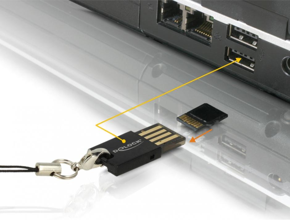 Imagine Cititor de carduri micro SD pe USB 2.0, Delock 91648-4