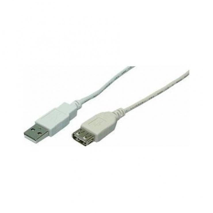 Imagine Cablu prelungitor USB 2.0 T-M gri 1.8m, Logilink CU0010