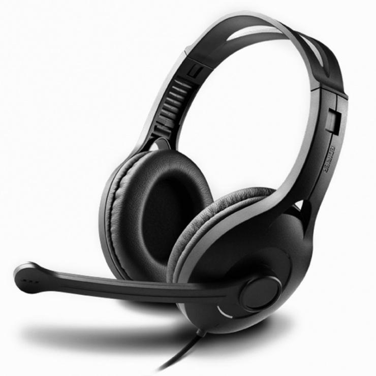 Imagine Casti stereo, microfon pe casca, control volum pe fir Negre, EDIFIER K800