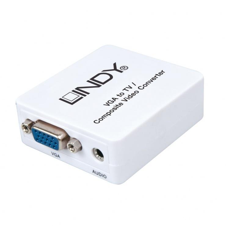 Imagine Convertor VGA la 3 x RCA alimentare USB (PC to TV), Lindy L32544