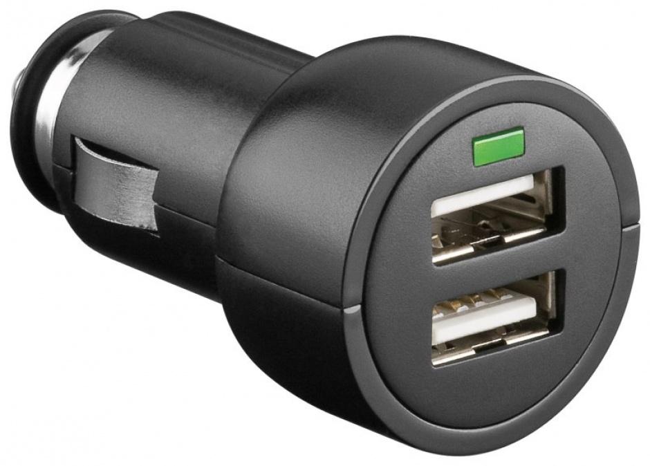 Imagine Incarcator auto 2x USB 3.1 A negru, Goobay 63518