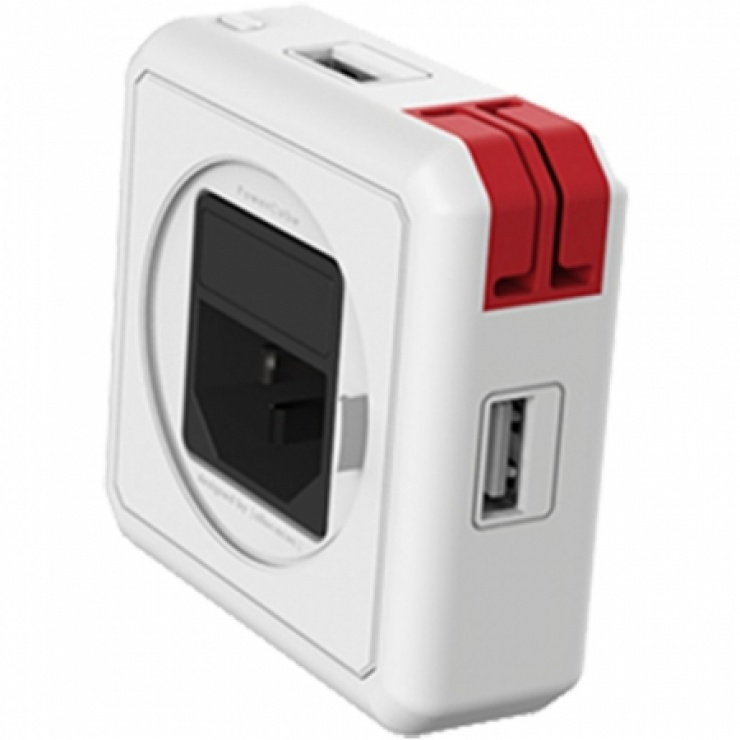 Imagine HUB Power Cube USB 2.0 cu 4 porturi Alb/rosu, ALLOCACOC