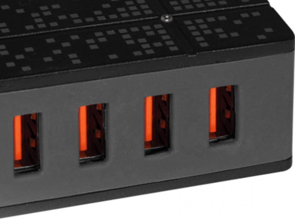 Imagine Incarcator priza 1x USB Quick/Fast Charge 2.0 (incarcare rapida) & 4 x USB Smart Charge, 8000mA & 40W