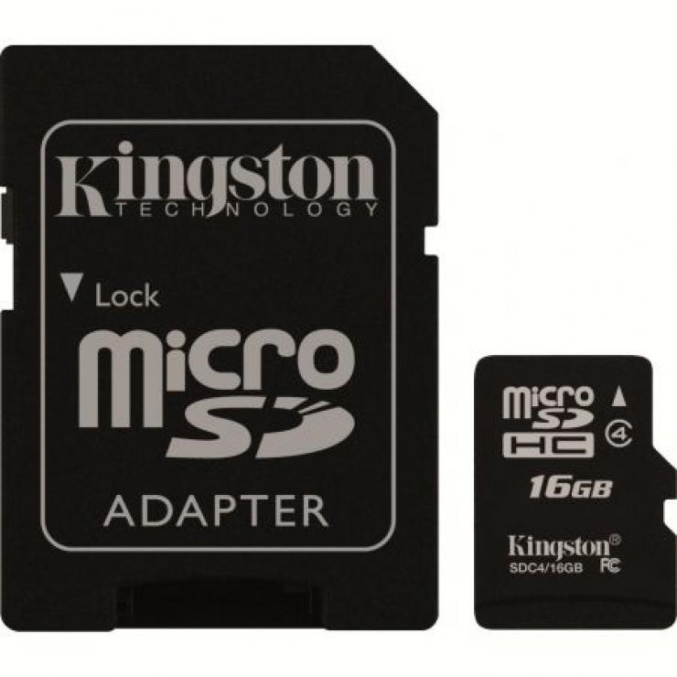 Imagine Card de memorie micro SDHC + adaptor 16GB clasa 4, KINGSTON SDC4/16GB