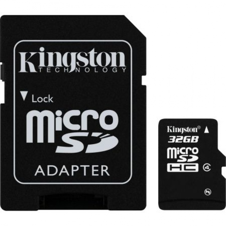 Imagine Card de memorie micro SDHC + adaptor 32GB clasa 4, KINGSTON SDC4/32GB