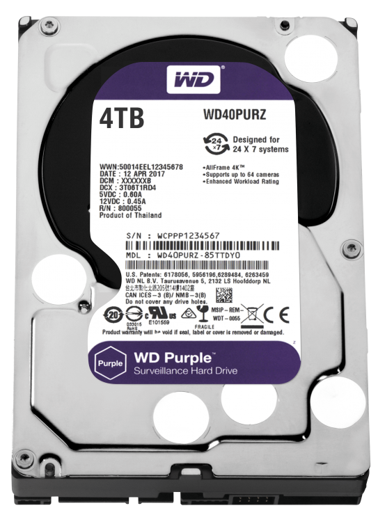 """Imagine HDD 4TB PURPLE 64MB S-ATA3 """"4PURZ"""" WD SURVEILLANCE"""