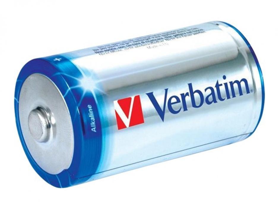 Imagine Set 2 baterii tip C alcaline, Verbatim 49922