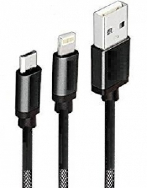 Imagine Cablu USB-A la micro USB + Lightning iPhone 1m Negru, Spacer SPDC-DualDCC
