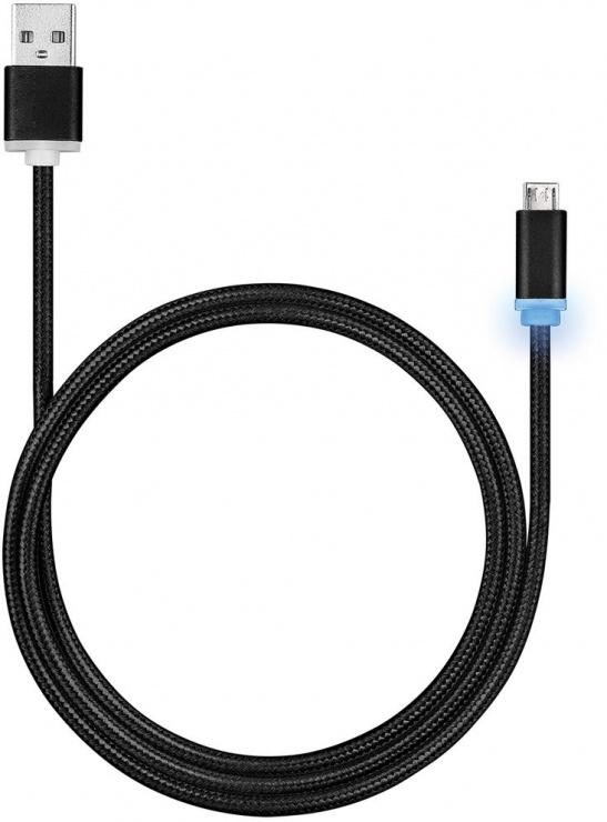 Imagine Cablu USB la micro USB pentru incarcare cu indicator LED 1m Negru, Roline 11.02.8318-3