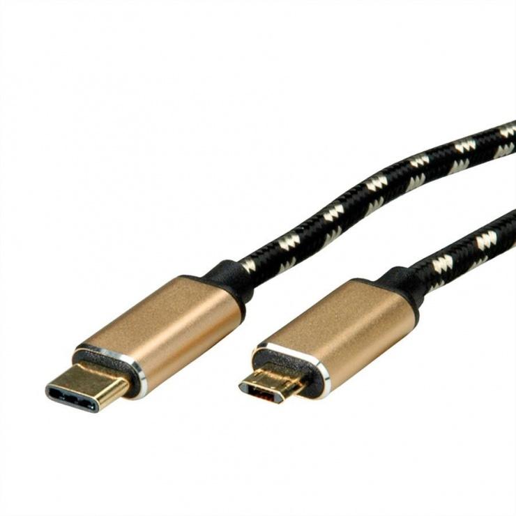 Imagine Cablu GOLD USB 2.0 tip C la micro USB-B reversibil T-T 3m, Roline 11.02.8791-1