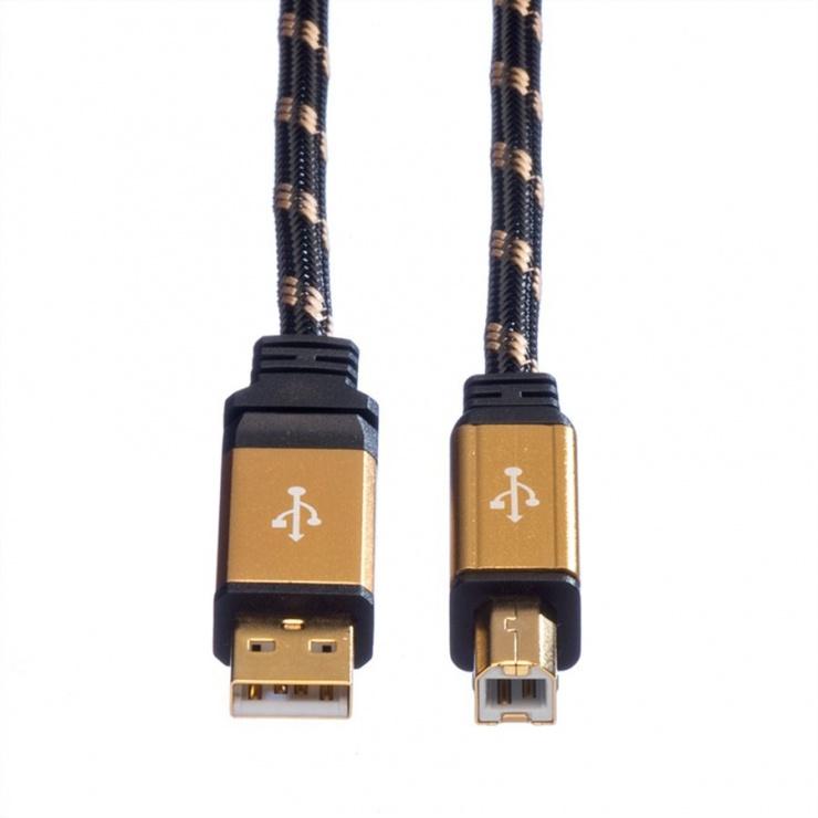 Imagine Cablu imprimanta USB 2.0 A-B T-T 3m Gold, Roline 11.02.8803-1