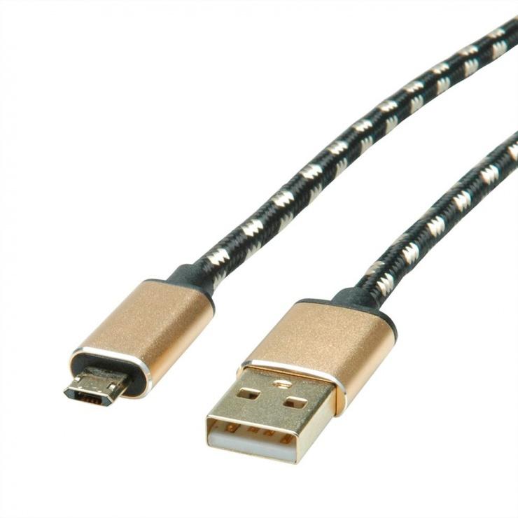 Imagine Cablu micro USB-B reversibil la USB 2.0 GOLD T-T 0.8m, Roline 11.02.8819