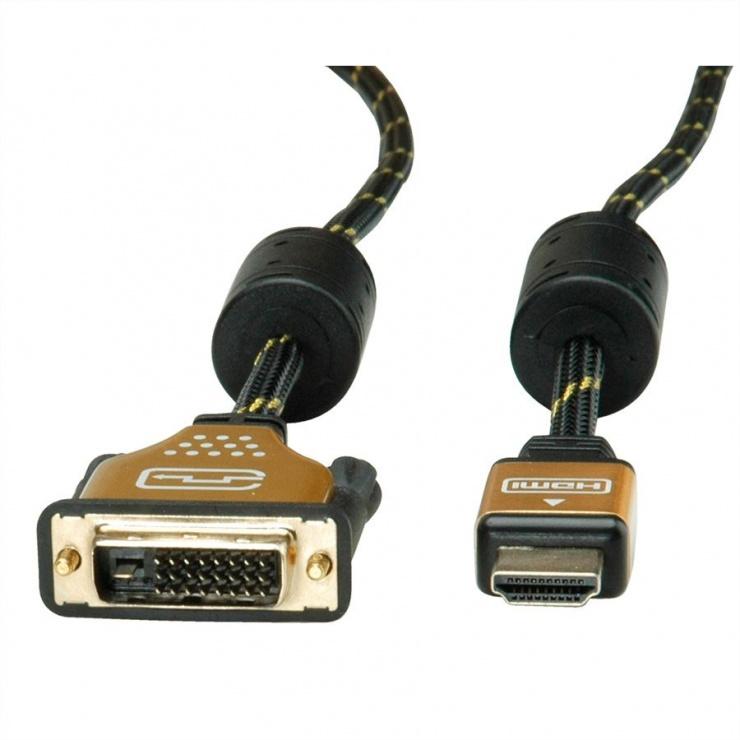 Imagine Cablu HDMI la DVI-D 24+1 pini T-T GOLD 1.5m, Roline 11.04.5896-2