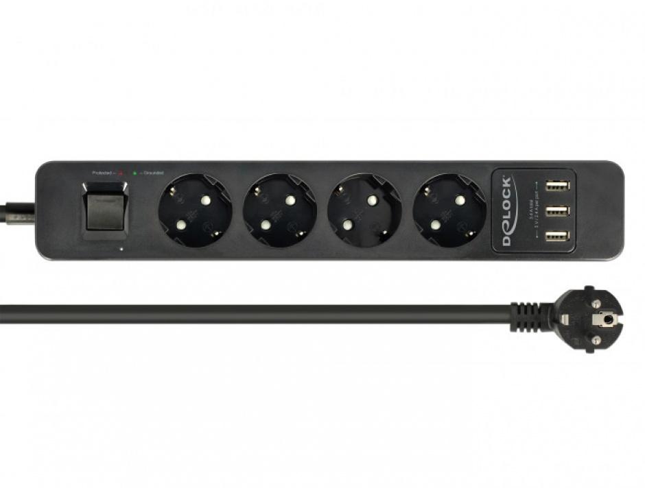Imagine Prelungitor cu protectie 4 prize 16A si 3 x USB 5V/2.4A 1.5m Negru, Delock 11209