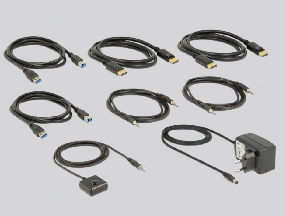 Imagine KVM Switch DisplayPort 1.2 4K 60Hz cu USB 3.0 si Audio, Delock 11467-2