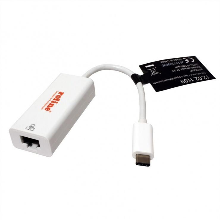 Imagine Placa de retea USB 3.1 tip C la Gigabit, Roline 12.02.1109