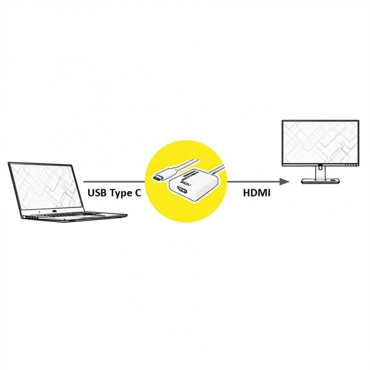 Imagine Adaptor USB tip C la HDMI T-M 10cm Alb, Value 12.99.3210