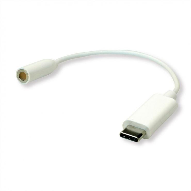 Imagine Adaptor audio USB-C la jack 3.5mm T-M 0.13m Alb, Roline 12.03.3213