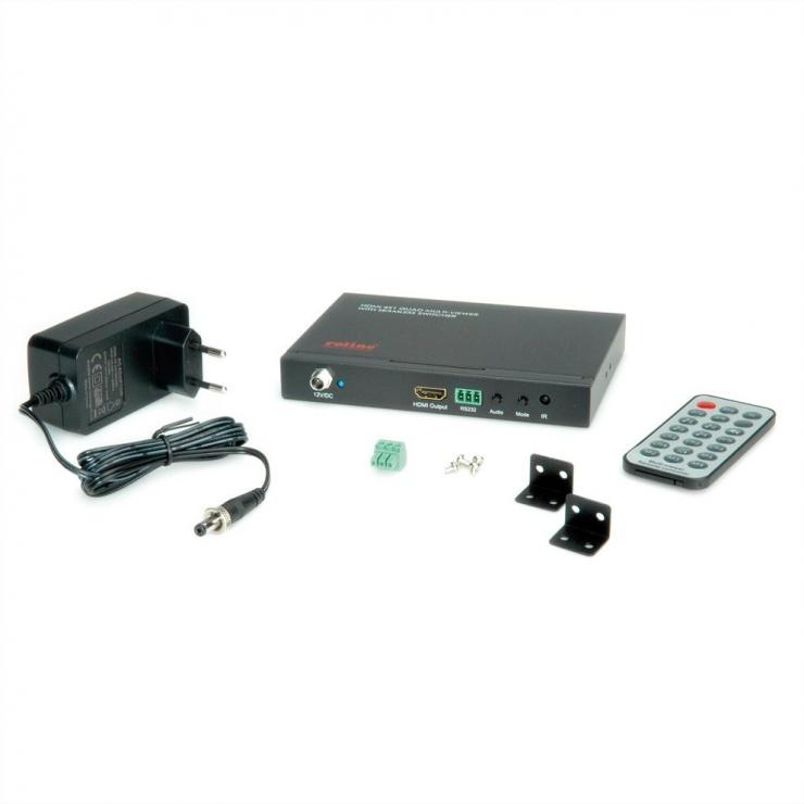 Imagine Switch HDMI cu 4 porturi QUAD Multi-Viewer cu Seamless, Roline 14.01.3569-3