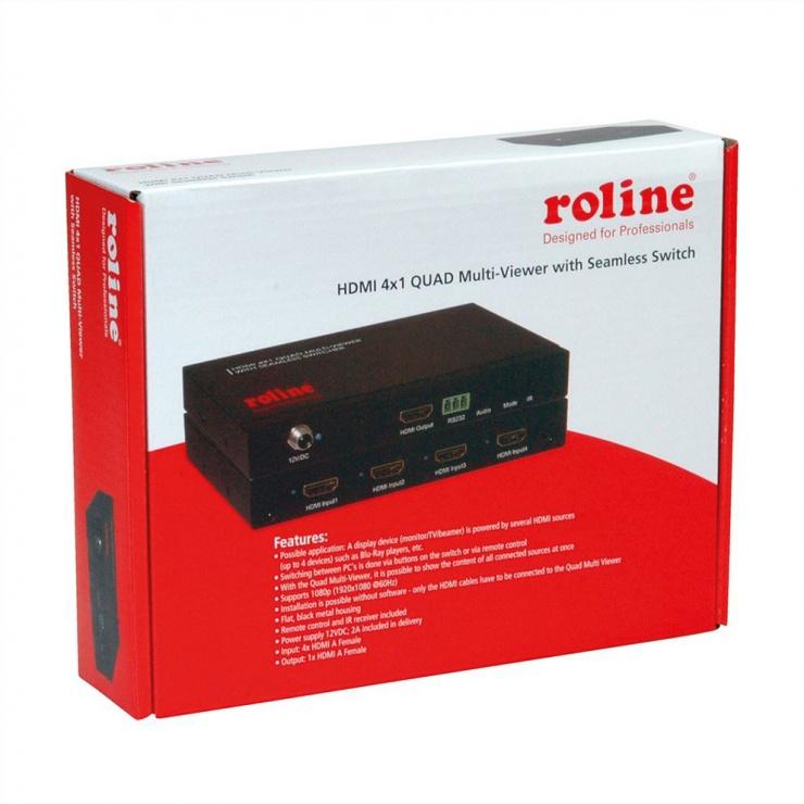 Imagine Switch HDMI cu 4 porturi QUAD Multi-Viewer cu Seamless, Roline 14.01.3569-4