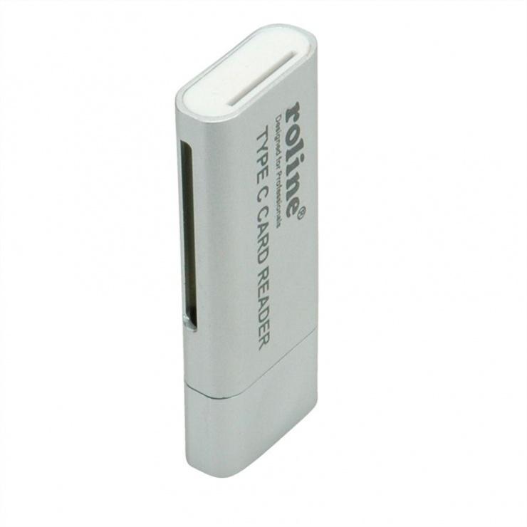 Imagine Cititor de carduri USB 3.0 tip C la SD/MicroSD, Roline 15.08.6259-1