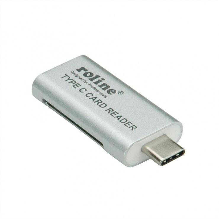 Imagine Cititor de carduri USB 3.0 tip C la SD/MicroSD, Roline 15.08.6259-3