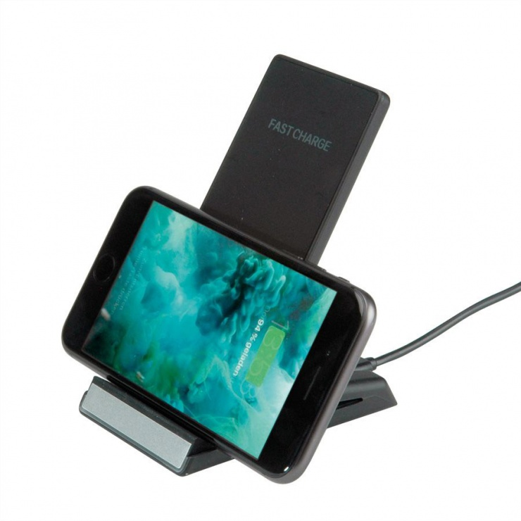 Imagine Stand smartphone cu incarcare wireless Fast Charge 10 W, Roline 19.11.1010-2
