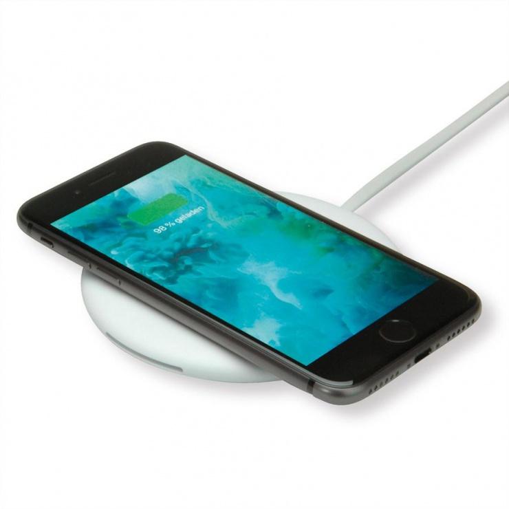 Imagine Incarcator Fast Charger Qi wireless (incarcare rapida) prin inductie 10W, Roline 19.11.1011-1