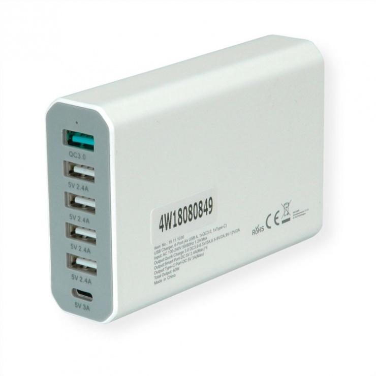 Imagine Incarcator priza tehnologie IQ 6 porturi USB 4 x USB A 2.4A, 1x USB C 3A, 1x USB A QC3.0)-2