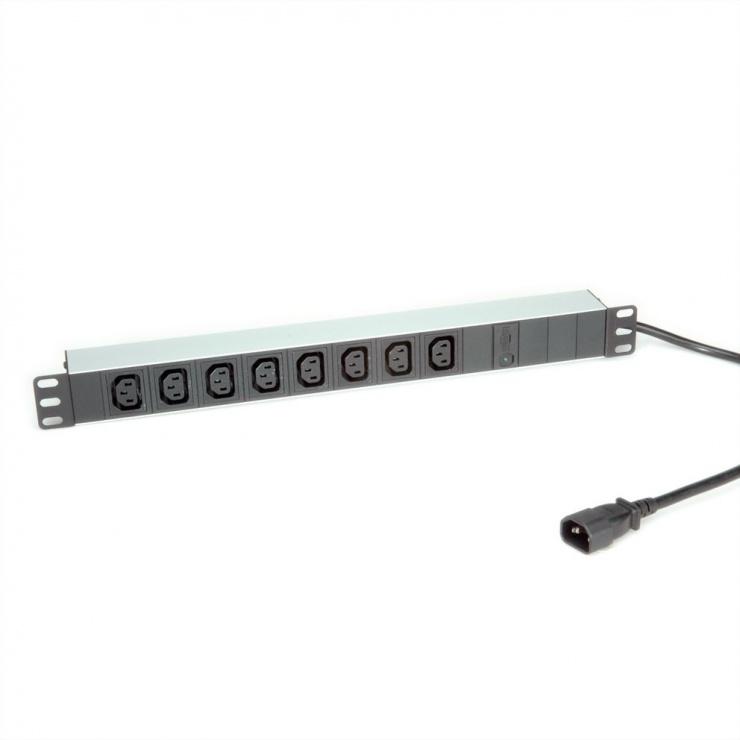"""Imagine Prelungitor 19"""" PDU C14 la 8 prize IEC320 C13 siguranta 10A aluminiu 2m, Roline 19.07.1629"""