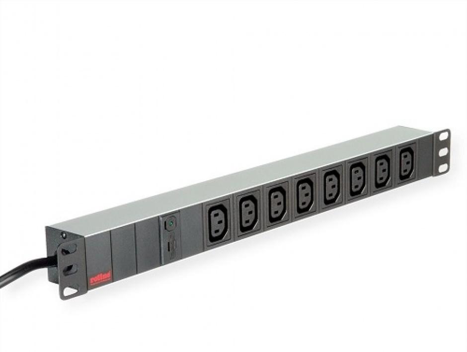 """Imagine Prelungitor 19"""" PDU C14 la 8 prize IEC320 C13 siguranta 10A aluminiu 2m, Roline 19.07.1629-1"""