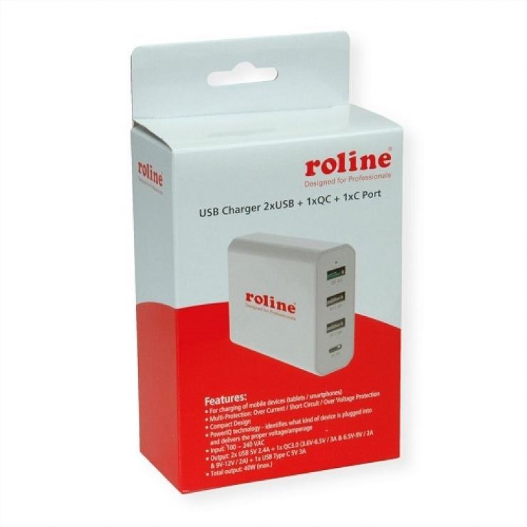Imagine Incarcator priza 4 porturi USB ( 3 x USB-A 2.4A + 1 x USB-C 3A) max. 40W, Roline 19.11.1031-2
