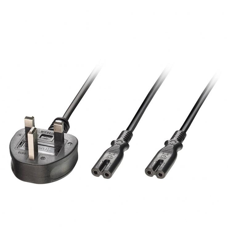 Imagine Cablu de alimentare UK plug la 2 x IEC C7 2.5m negru, Lindy L30372