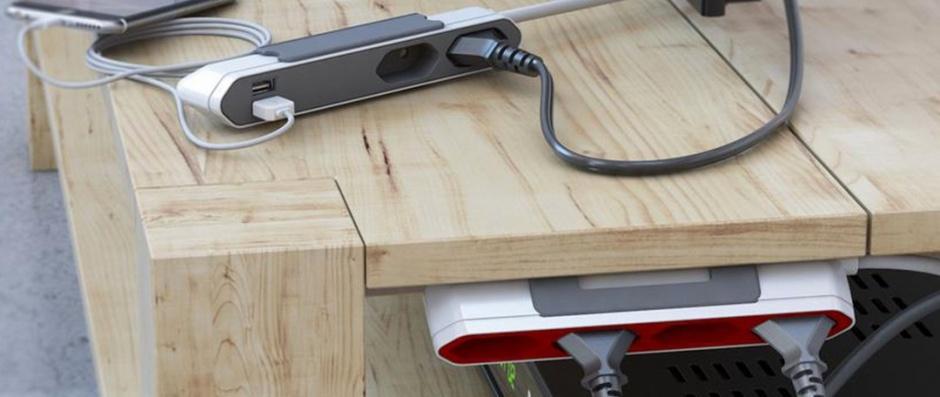 Imagine Prelungitor PowerBar 2 prize Euro + 2 x USB 2.1A 1.5m Alb,Gri, Allocacoc-1