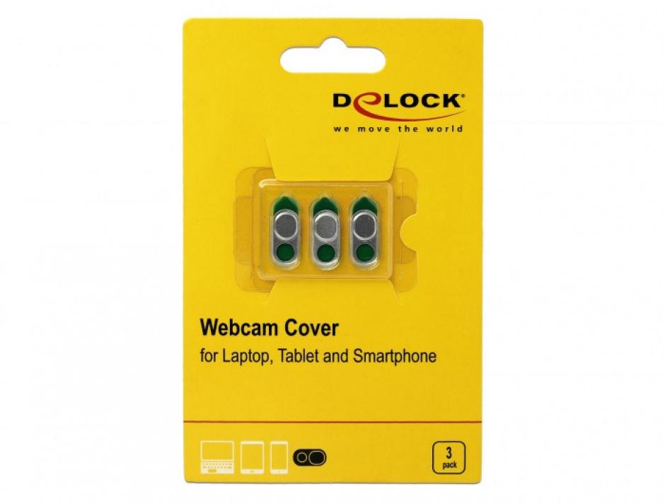 Imagine Set 3 bucati protectii camera pentru laptop/smartphone/tableta Silver, Delock 20656-2