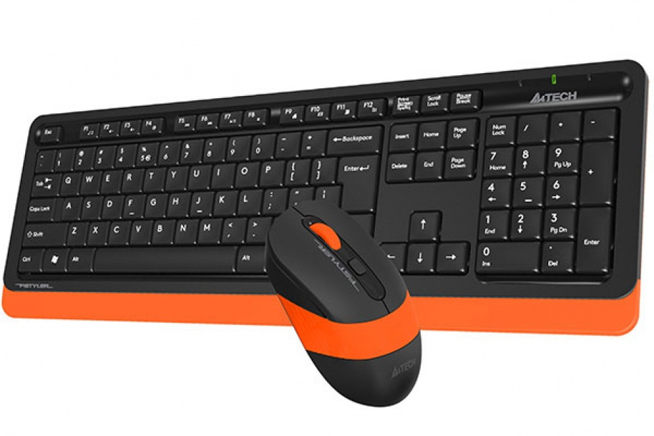 Imagine KIT tastatura + mouse wireless A4Tech Fstyler Negru/Orange, FG1010 Orange