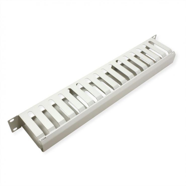 """Imagine Front Panel 19"""" 1U cu organizator pentru cabluri 40x80mm RAL7035 Gri deschis, Value 26.99.0303-2"""