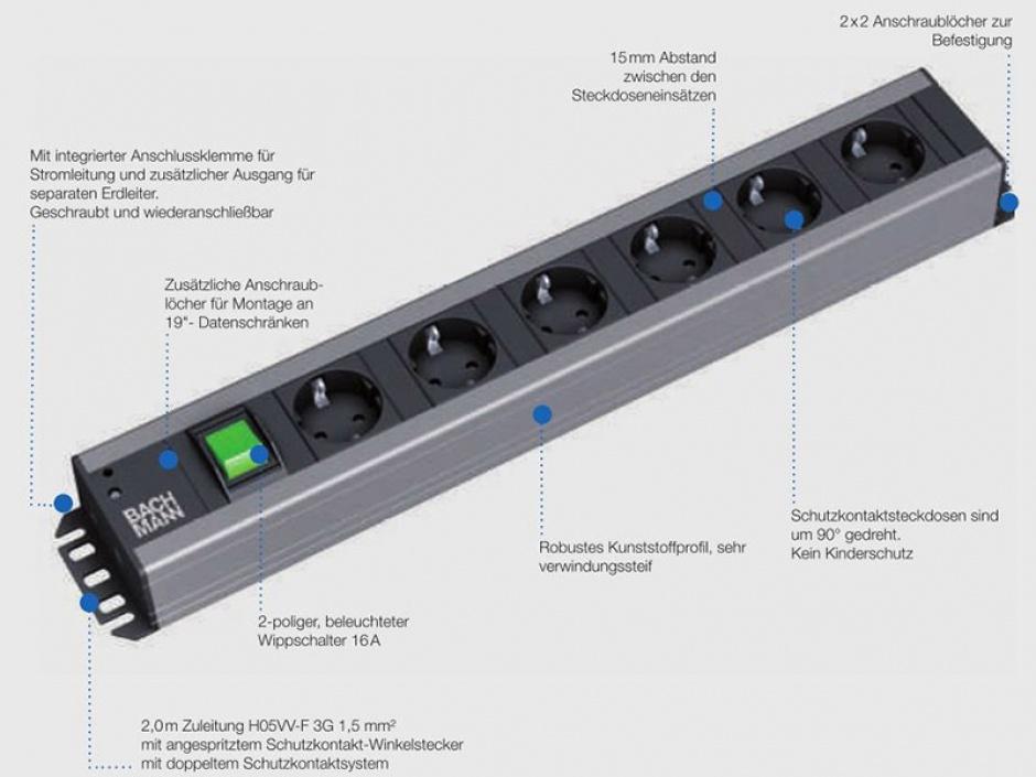Imagine Prelungitor rackabil Craftsman cu 12 x Schuko, Switch ON/OFF 2m, Bachmann 300.005