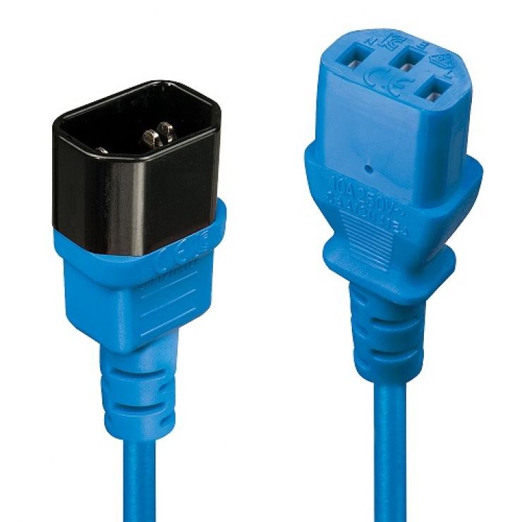 Imagine Cablu prelungitor alimentare IEC C13 - C14 0.5m Bleu, Lindy L30470
