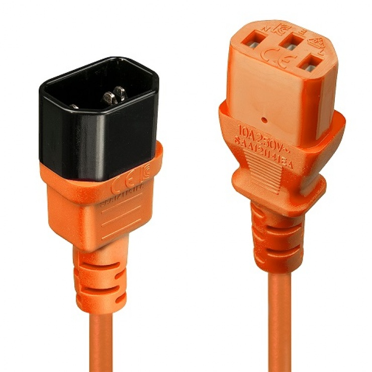 Imagine Cablu prelungitor alimentare IEC C13 - C14 2m Orange, Lindy L30475