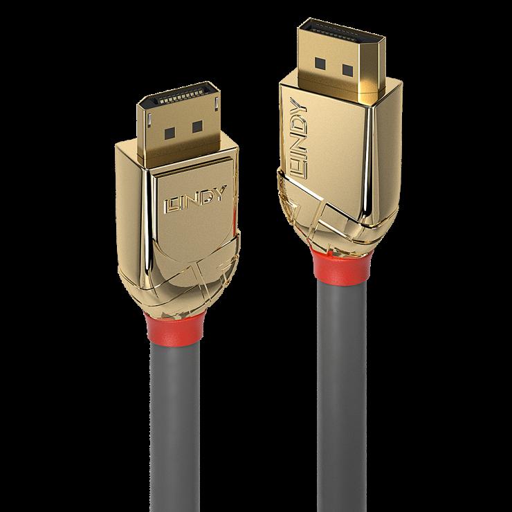 Imagine Cablu Displayport 8K UHD (DP certificat) v1.4 T-T Gold Line 1m, Lindy L36291
