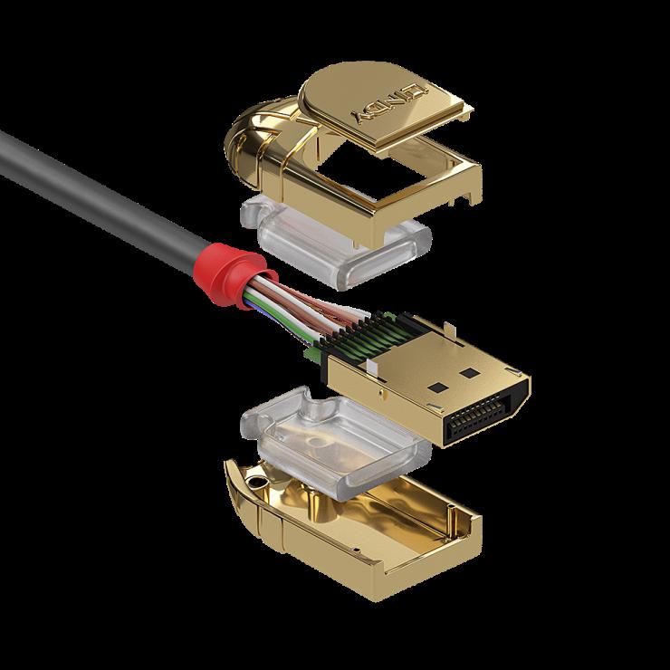 Imagine Cablu Displayport 8K UHD (DP certificat) v1.4 T-T 5m Gold Line, Lindy L36294