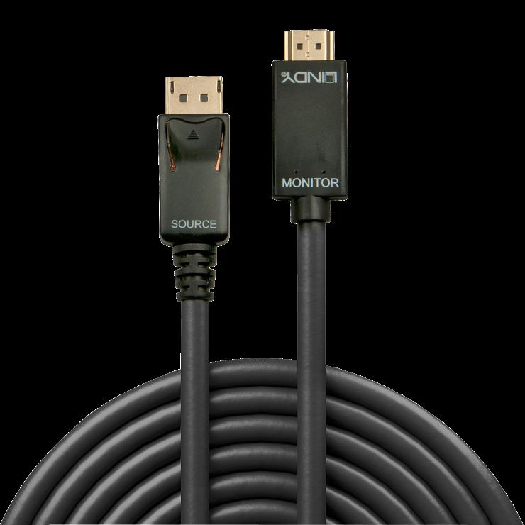 Imagine Cablu Displayport la HDMI 4K 2m T-T Negru, Lindy L36922-1